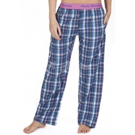 Ladies 100% Cotton Checked Design Pyjama Lounge Pants by Forever Dreaming - BLUE CHECK-xl