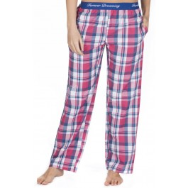 Ladies 100% Cotton Checked Design Pyjama Lounge Pants by Forever Dreaming - PINK CHECK-s