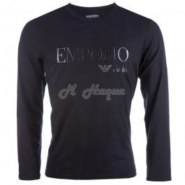 Armani T-Shirt Long Sleeve crew neck for Men in Black