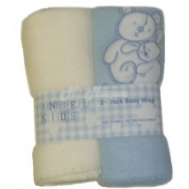 """Angel Kids"" Baby Super Soft Fleece Embroidered Teddy Wrap (Blue &  Cream) (Pink & Cream) - B24-blue"