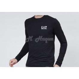 Armani Emporio EA7 men's  long-sleeved crew-neck t-shirt - black-l