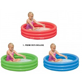 "Childrens Inflatable 40"" x 10"" 3 Ring Paddling Pool(Red, Green & Blue)"