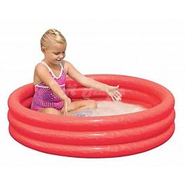 "Childrens Inflatable 40"" x 10"" 3 Ring Paddling Pool(Red, Green & Blue)-red"