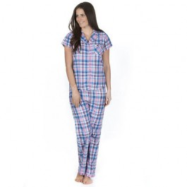 Ladies 100% Cotton Checked Design Short Sleeve top & lounge pant set by Forever Dreaming - PINK-l