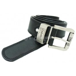 Men's Leather Plain Black Logo Buckle Ex-Wide Belts by Embargo-xxl