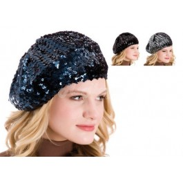Ladies Sequin Beret French Style Hats-navy