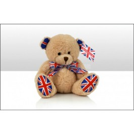 Union jack bear soft toy 15cm, b17