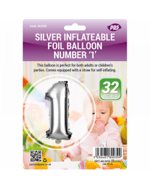 Silver inflatable foil balloon for birthday party large size 32 inch - Brand new