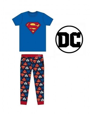 "Men's Official ""Superman"" short sleeve top and bottom nightwear pants Pyjama set B12 - Brand new"