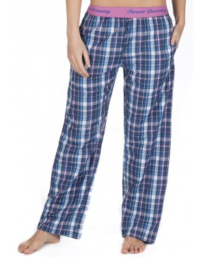 Ladies 100% Cotton Checked Design Pyjama Lounge Pants by Forever Dreaming - BLUE CHECK