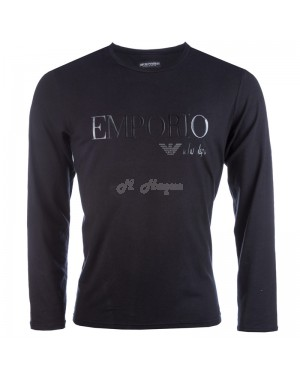 Armani T-Shirt Long Sleeve crew neck for Men in Black-l