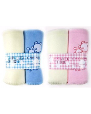 """Angel Kids"" Baby Super Soft Fleece Embroidered Teddy Wrap (Blue &  Cream) (Pink & Cream) - B13,6,12"