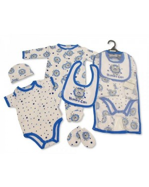 Baby Boys 5 Pieces Gift Set - Hungry Lion (Sleepsuit, Short Sleeved Body vest, Bib, Hat, Mittens)