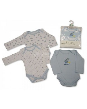 Nursery Time brand baby boys 3 in a pack long sleeve cotton body vests