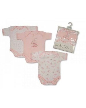 Nursery Time brand baby girls 3 in a pack short sleeve cotton body suit