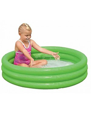 "Childrens Inflatable 40"" x 10"" 3 Ring Paddling Pool(Red, Green & Blue)-green"
