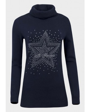 Ex Catalogue Ladies Roll Neck Studded Jumper (Navy)