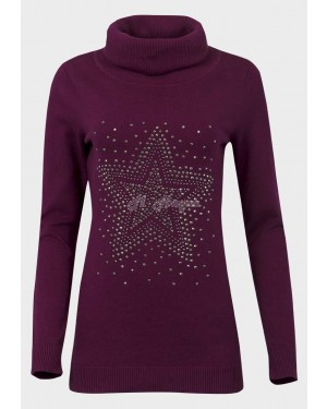 Ex Catalogue Ladies Roll Neck Studded Jumper (Mulberry Purple)