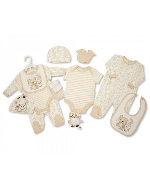 "Nursery Time"" Brand Baby 6 pcs Gift Set - Sleepy Time (Sleep suit, Short Sleeved Body vest, Bib, Hat, Mittens, Toy)"
