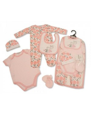 Baby Girls 5 Pieces Gift Set - Watch Me Grow (Sleepsuit, Short Sleeved Bodyvest, Bib, Hat, Mittens)