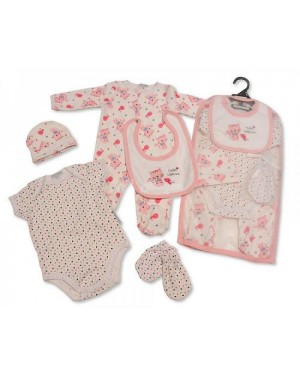 Baby Girls 5 Pieces Gift Set - Hello Little One (Sleepsuit, Short Sleeved Bodyvest, Bib, Hat, Mittens)