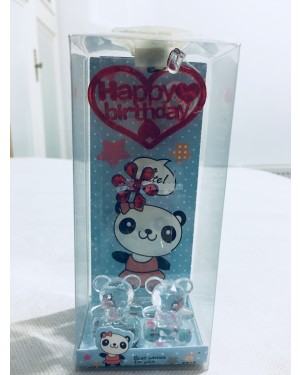 Happy birthday with 2 little bear with red flower decoration with LED light S2R2C3