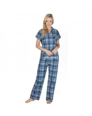 Ladies 100% Cotton Checked Design Short Sleeve top & lounge pant set by Forever Dreaming - GREEN