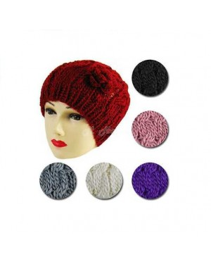 Ladies Chunky Cable Knit Hats with Crochet Flower Color: Violet B15