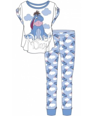 Ladies Official Disney Eeyore Short Sleeve Top & Cuffed Lounge Pant Pyjama Set - B30