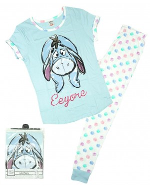 Ladies Official Disney Eeyore Short Sleeve Top & Cuffed Lounge Pant Pyjama Sets B48-UK8-10