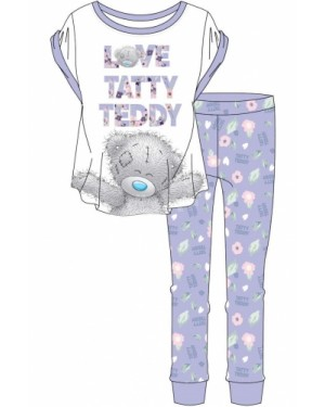Ladies Official Me To You Tatty Teddy Short Sleeve Top & Cuffed Lounge Pant Pyjama Set B48-UK8-10