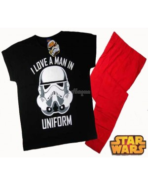 Ex Chainstore Ladies Official Disney Star Wars Storm trooper Short Sleeve Top & Cuffed Lounge Pant Pyjama Set - B30