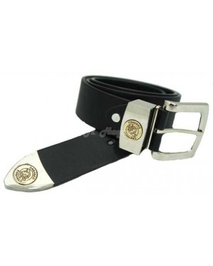 Men's Leather Plain Black Logo Buckle Ex-Wide Belts by Embargo