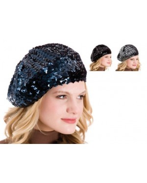 Ladies Sequin Beret French Style Hats-black b12