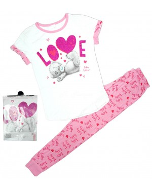 Ladies Official Me To You Tatty Teddy S/Sleeve Top & Cuffed Lounge Pant Pyjama Set B25-xl