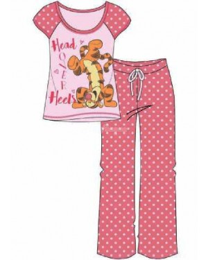 "Ladies Official Disney ""Tigger"" S/Sleeve Top & Lounge Pant Pyjama Set B34-m"