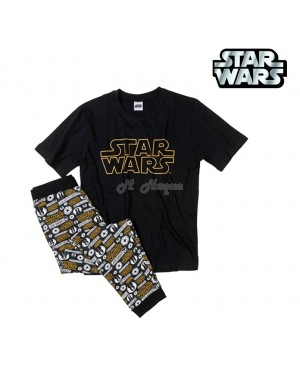Men's Official Star Wars Character short sleeve top and bottom pyjama set B12-Large