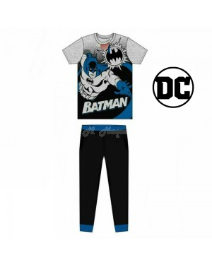 Men's Official Batman Short Sleeve Top & Cuffed Lounge Pant Pyjama Set-Large