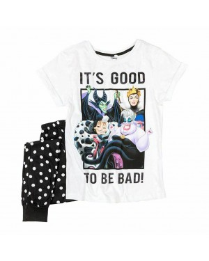 """Ladies Official Disney """"Villains"""" Character Short Sleeve Top & Cuffed Lounge Pant Pyjama Set - Brand new & Authentic-UK20-22"""