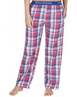 Ladies 100% Cotton Checked Design Pyjama Lounge Pants by Forever Dreaming - PINK CHECK