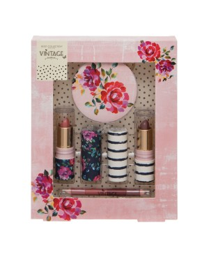 Body Collection Vintage Lips Set with lipstick, lip pencil and mirror - Brand new