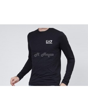 Armani Emporio EA7 men's  long-sleeved crew-neck t-shirt - black