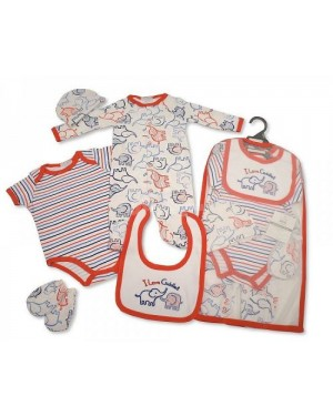 Baby Boys 5 Pieces Gift Set - I Love Cuddles (Sleepsuit, Short Sleeved Bodyvest, Bib, Hat, Mittens)