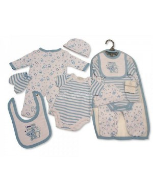 Baby Boys 5 Pieces Gift Set - I Love Milk and Cuddles (Sleepsuit, Short Sleeved Bodyvest, Bib, Hat, Mittens)