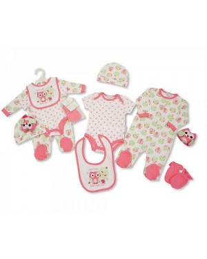 Nursery Time Brand Baby Girls 6 pcs Gift Set - Owl (Sleep suit, Short Sleeved Body vest, Bib, Hat, Mittens, Toy)