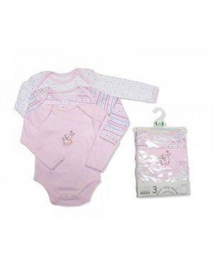 Nursery Time brand baby girls 3 in a pack long sleeve cotton body vests