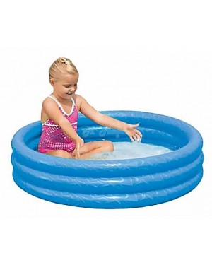 "Childrens Inflatable 40"" x 10"" 3 Ring Paddling Pool(Red, Green & Blue)-blue"