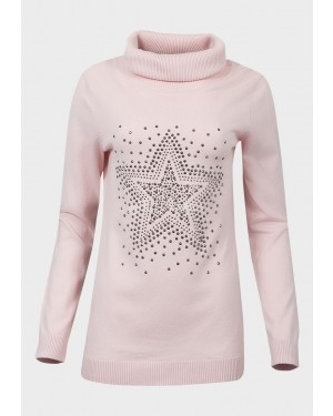Ex Catalogue Ladies Roll Neck Studded Jumper (Pink)