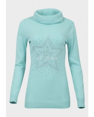 Ex Catalogue Ladies Roll Neck Studded Jumper (Mint)