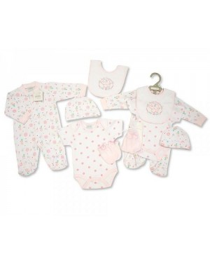 Nursery Time Brand Baby Girls 5 pcs Gift Set - Smile (Sleep suit, Short Sleeved Body vest, Bib, Hat, Mittens)